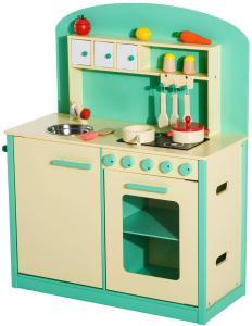 cocina de juguete verde de HOMCOM